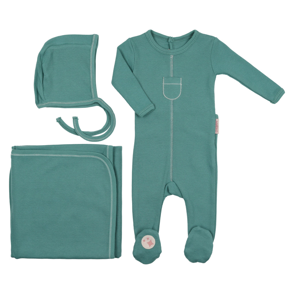 Charmant by Mon Tresor Teal Tip Top Layette Set