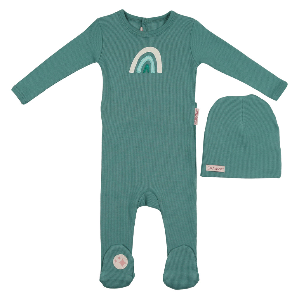 Charmant by Mon Tresor Teal Over the Rainbow Footie & Hat Set