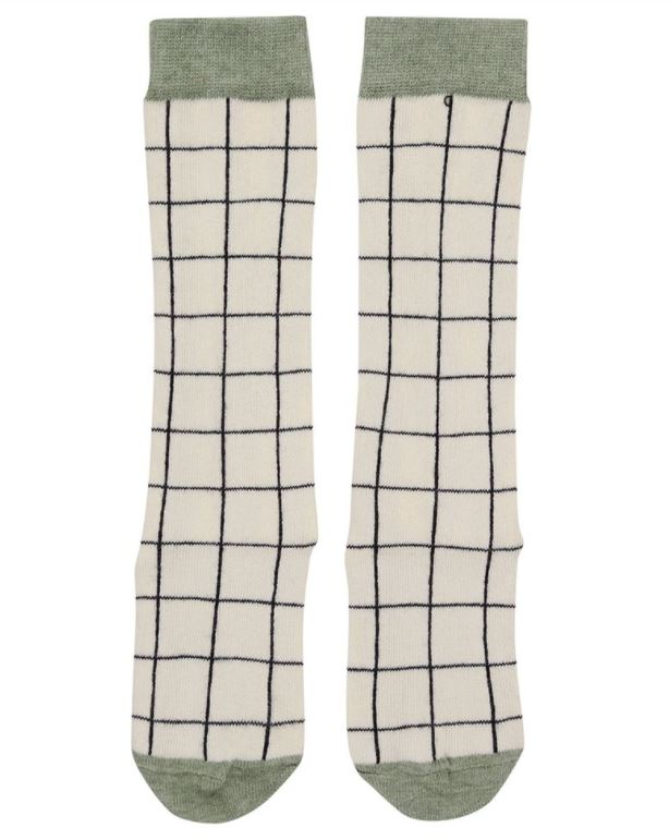 Turtledove Cream Grid Socks