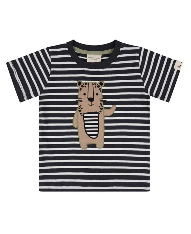 Turtledove Stripe Leopard Applique Tshirt