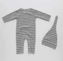 Hatch'D Grey & White Striped Rib Romper