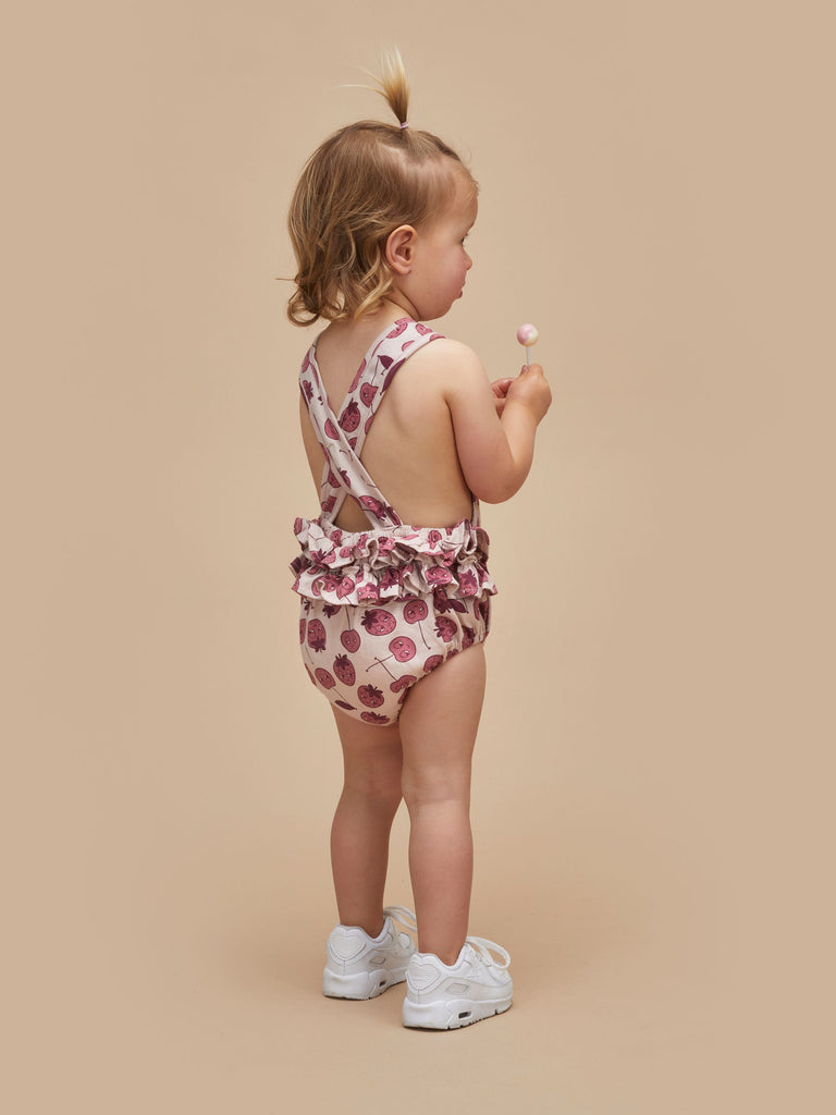 Hux Baby Rose Berry Frill Playsuit