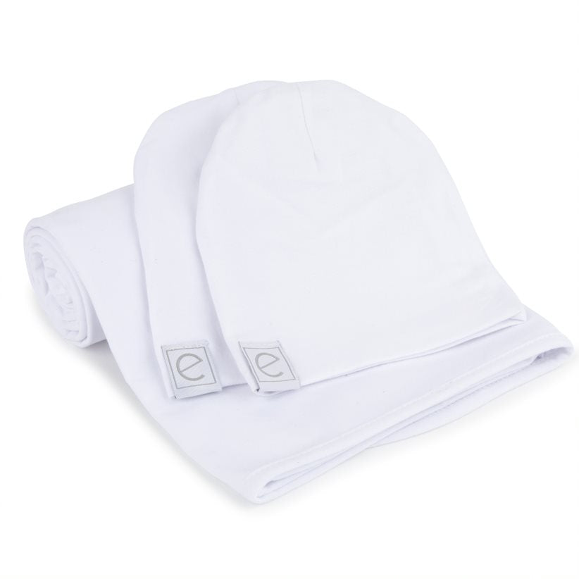 Ely's & Co. White Swaddle & Baby Hats Gift Set