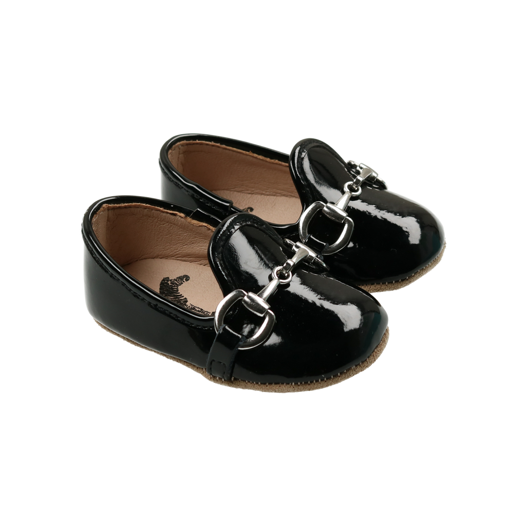Zeebra Kids Midnight Black Patent Leather Buckle Loafer