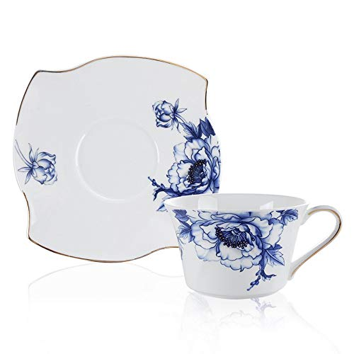 LLESS 17-Pc Bone China Tea Set-Blue Flower Trimmed in Gold-Cups and Saucers Set with Teapot, Sugar Bowl & Milk Jug
