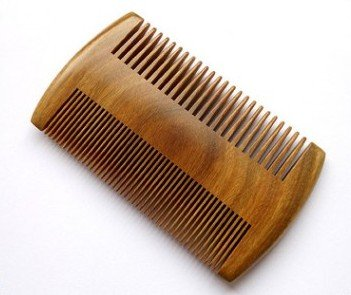 "LLESS Handmade Natural Green Sandalwood No Static Comb Pocket Comb Perfect Beard Comb with Aromatic Scent for Long and Short Beards Perfect Mustache Comb 4"" Long"