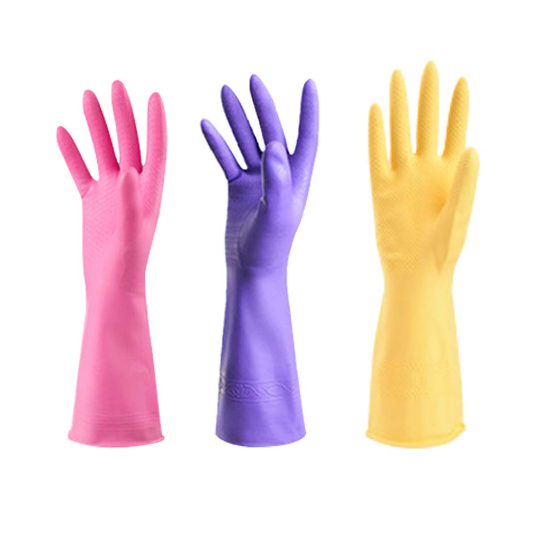 LLESS Rubber Gloves Reuseable Kitchen Cleaning Gloves Heat Resisting Non-Slip Soft Cotton Flock Lining Great Kitchen Cleaning Tools Medium 3 Packs
