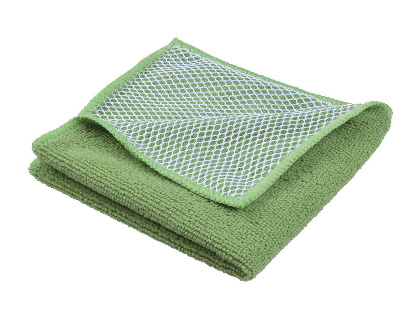 "LLESS Microfiber Dish Cloth for Washing Dishes Dish Rags Best Kitchen Cloths Cleaning Cloths With Poly Scour Side 5 color assorted 12""x12"" 10 Pack (Pinkx2+bluex2+whitex2+yellowx2+greenx2)"