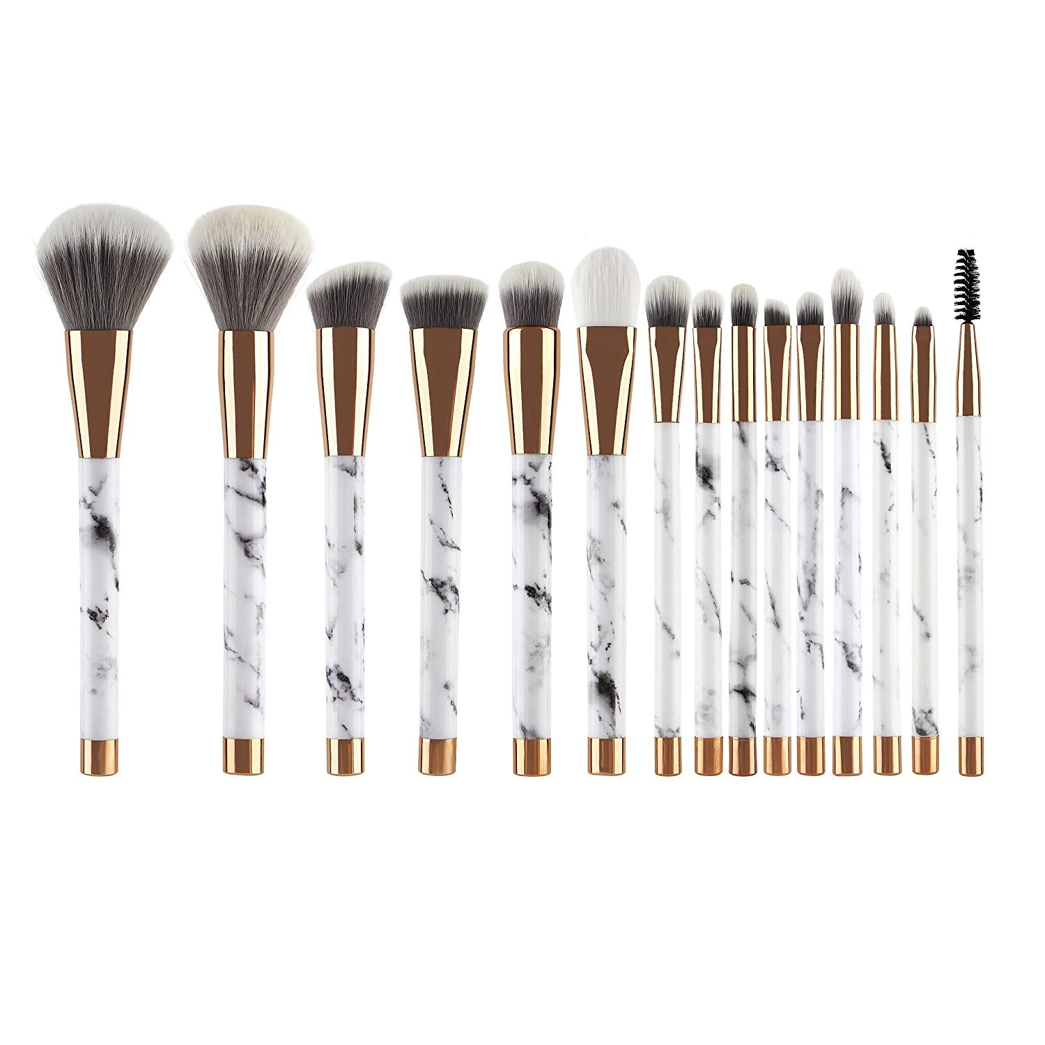 LLESS Makeup Brushes 15 Pieces Makeup Brush Set Premium Face Eyeliner Blush Contour Foundation Cosmetic Brushes for Powder Liquid Cream