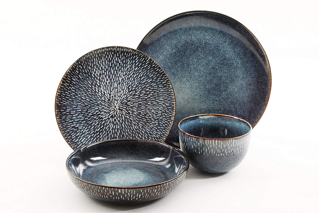 LLESS Gibson Elite Matisse Double Bowl Dinnerware Set Reactive Stoneware Cobalt Blue Piece