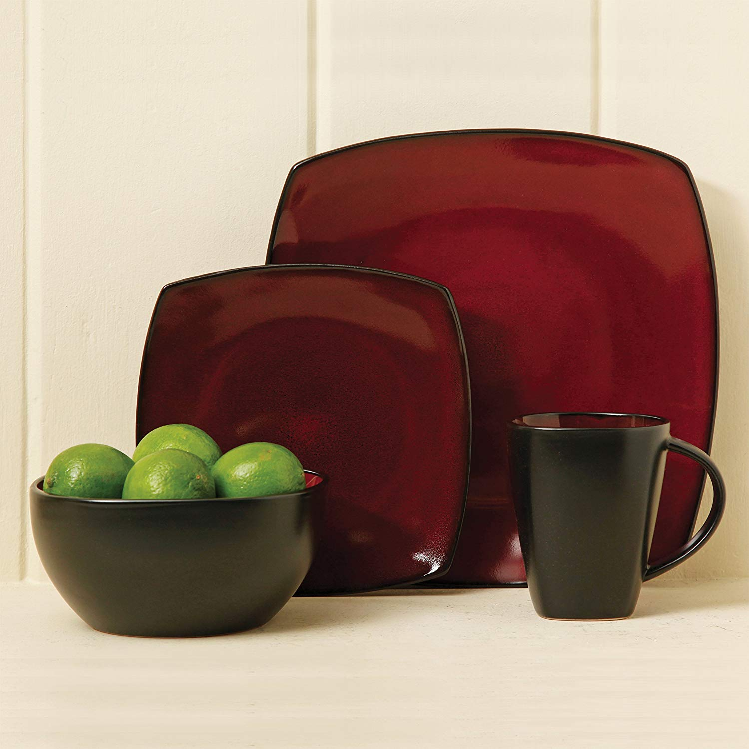 LLESS Elite Soho Lounge Reactive Glaze 16 Piece Dinnerware Set in Red; Includes 4 Dinner Plates; 4 Dessert Plates, 4 Bowls and 4 Mugs