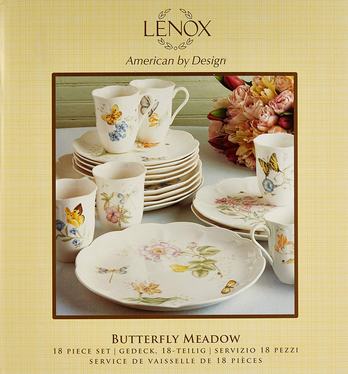 LLESS Butterfly Meadow 18-Piece Dinnerware Set, Service for 6