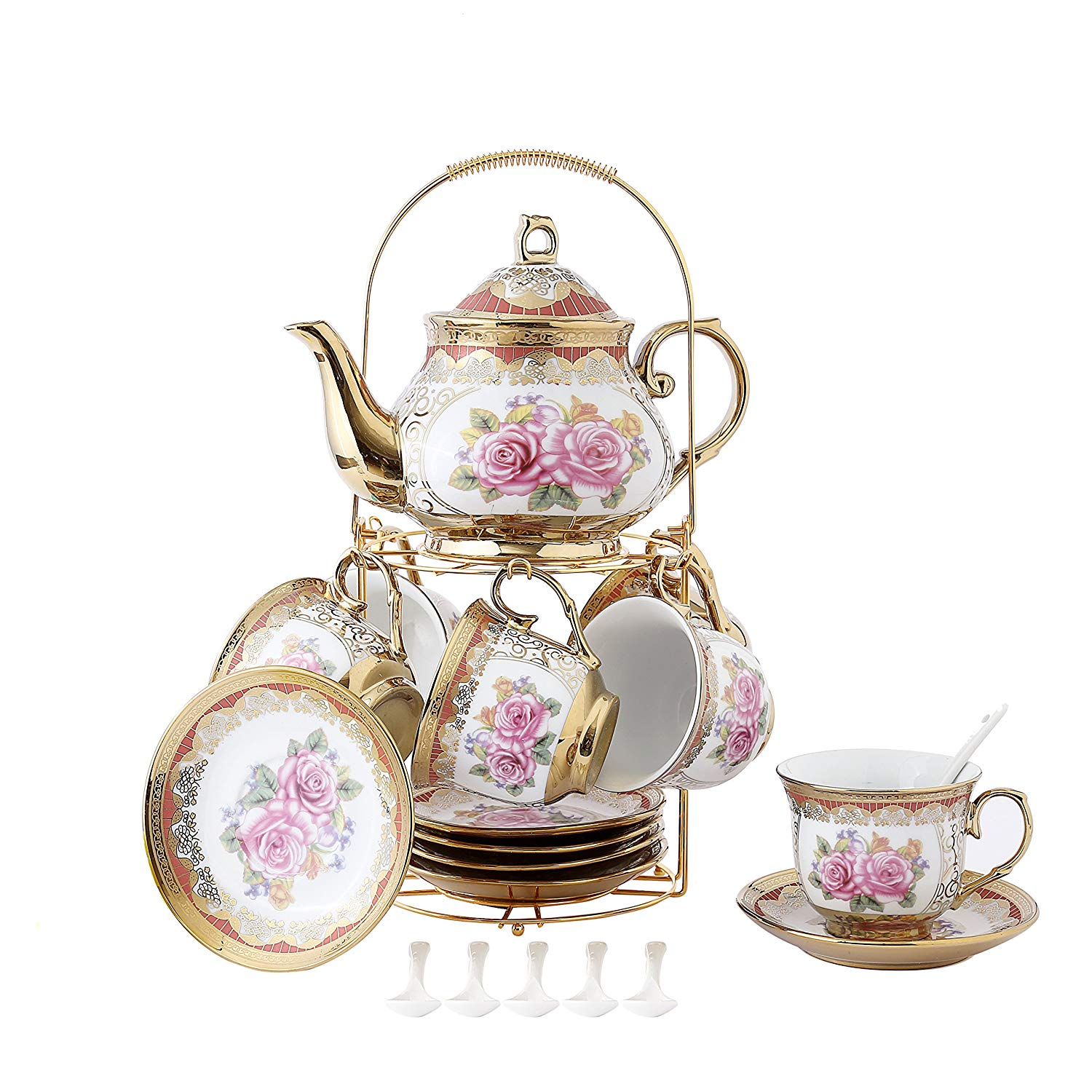 LLESS 13 Piece European Retro Titanium Ceramic Tea Set With Metal Holder, Porcelain Tea Cups Set, For Wedding, Red Rose Painting