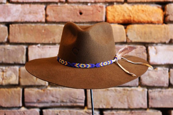 Charlie One Horse Gypsy Felt Hat with Beaded Hat Band & Pheasant Feather
