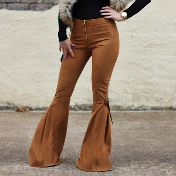 Western Cowgirl Concho Suede Bell Bottoms