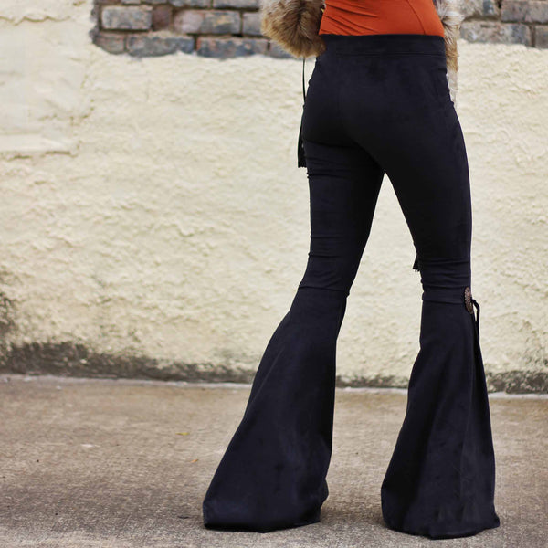 Western Cowgirl Suede Bell Bottoms Concho Accent