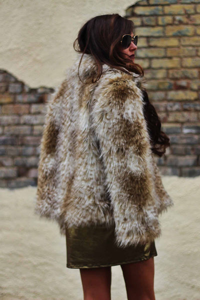 Vintage Inspired Neutral Beige Leopard Faux Fur Coat