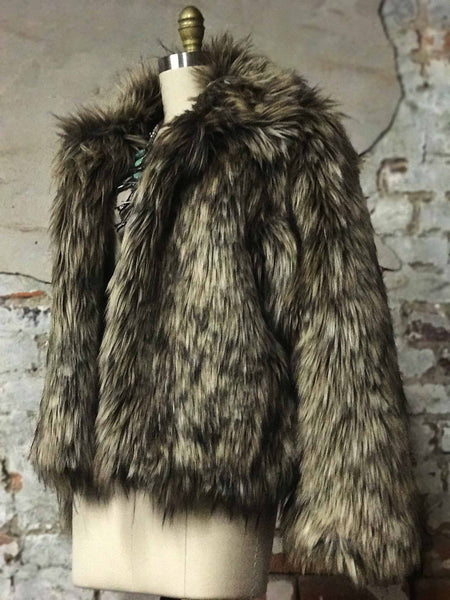 Vintage Inspired Brown and Black Faux Fur Coat
