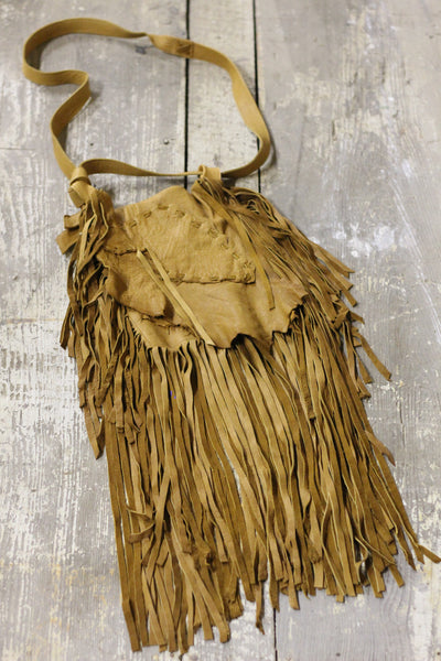 Western Handmade Buckskin Leather Purse with Fringe