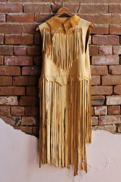 Handmade Buckskin Leather Vest with Fringe