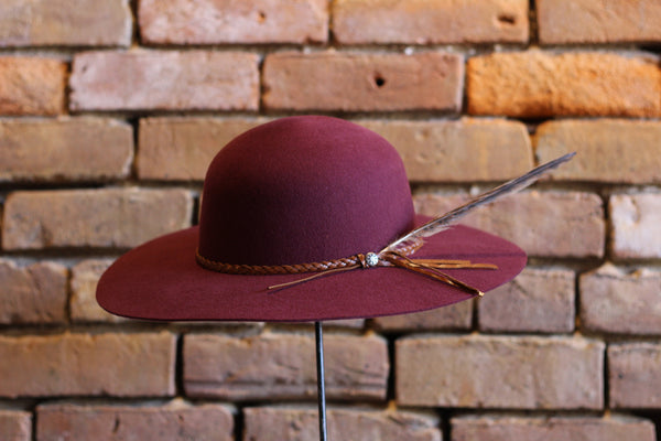 Charlie 1 Horse Wanderlust Maroon Felt Hat with Pheasant Feather Accent