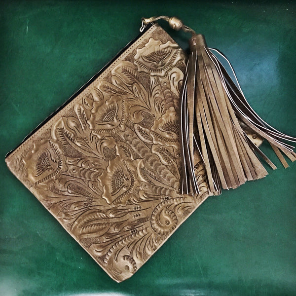 Tooled Leather Clutch Wild Bleu
