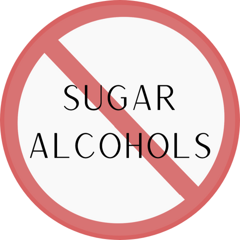 """text that says """"sugar alcohols"""" with a red warning sign around it."""
