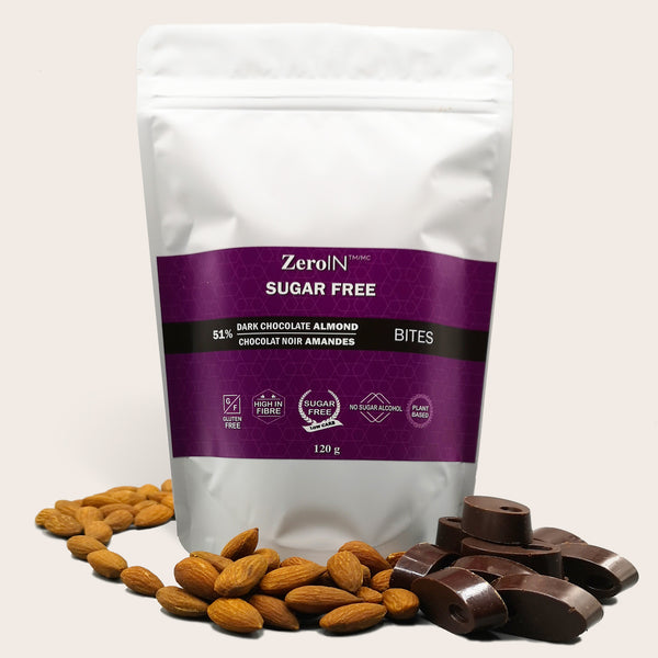 Dark Chocolate - Almond Bites - Sugar Free, keto - ZeroIN Chocolate