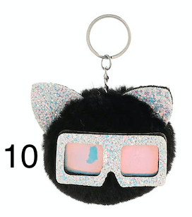 Unlimited Beauty Care Accessories 10 Cat Keychain With Glittery Sunglasses
