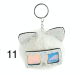 Unlimited Beauty Care Accessories 11 Cat Keychain With Glittery Sunglasses