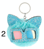 Unlimited Beauty Care Accessories 2 Cat Keychain With Glittery Sunglasses