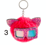 Unlimited Beauty Care Accessories 3 Cat Keychain With Glittery Sunglasses