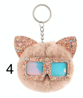 Unlimited Beauty Care Accessories 4 Cat Keychain With Glittery Sunglasses