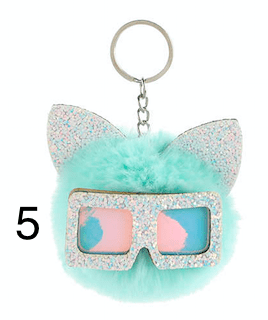Unlimited Beauty Care Accessories 5 Cat Keychain With Glittery Sunglasses