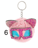 Unlimited Beauty Care Accessories 6 Cat Keychain With Glittery Sunglasses