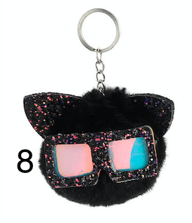 Unlimited Beauty Care Accessories 8 Cat Keychain With Glittery Sunglasses