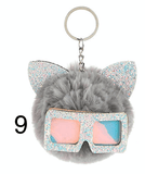 Unlimited Beauty Care Accessories 9 Cat Keychain With Glittery Sunglasses