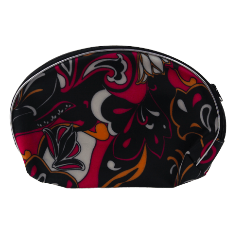 Unlimited Beauty Care Accessories Black Flowers Print Bag