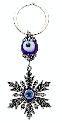 Unlimited Beauty Care Accessories Blue Evil Eye with Snowflake Keychain