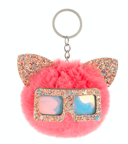 Unlimited Beauty Care Accessories Cat Keychain With Glittery Sunglasses