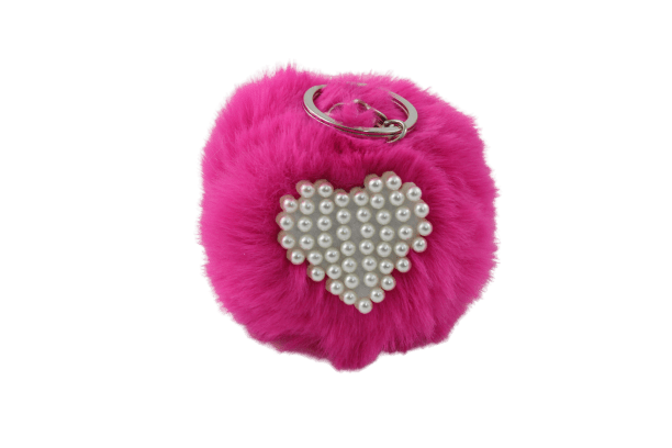 Unlimited Beauty Care Accessories Hot Pink Faux Fur Pom Pom Keychain with Beaded Heart