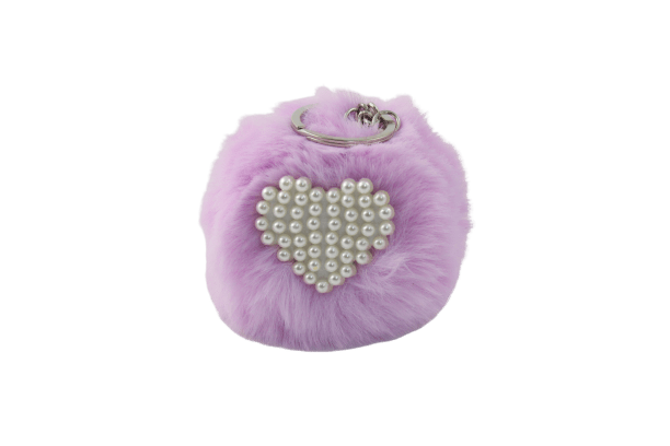 Unlimited Beauty Care Accessories Light Purple Faux Fur Pom Pom Keychain with Beaded Heart