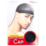 Unlimited Beauty Care Accessories MAXIM Stocking Wave Cap - Black - (includes 2 caps)
