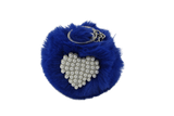 Unlimited Beauty Care Accessories Navy Faux Fur Pom Pom Keychain with Beaded Heart