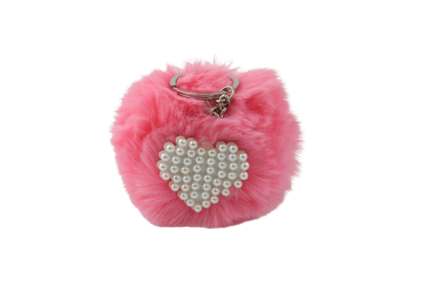 Unlimited Beauty Care Accessories Pink Faux Fur Pom Pom Keychain with Beaded Heart