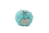 Unlimited Beauty Care Accessories Sky Blue Faux Fur Pom Pom Keychain with Beaded Heart