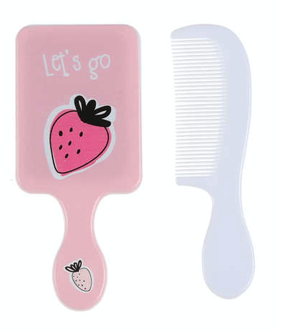 Unlimited Beauty Care Accessories Strawberry Fruit Themed Mirror with Comb For Kids