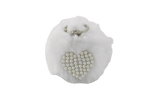 Unlimited Beauty Care Accessories White Faux Fur Pom Pom Keychain with Beaded Heart