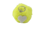 Unlimited Beauty Care Accessories Yellow Faux Fur Pom Pom Keychain with Beaded Heart