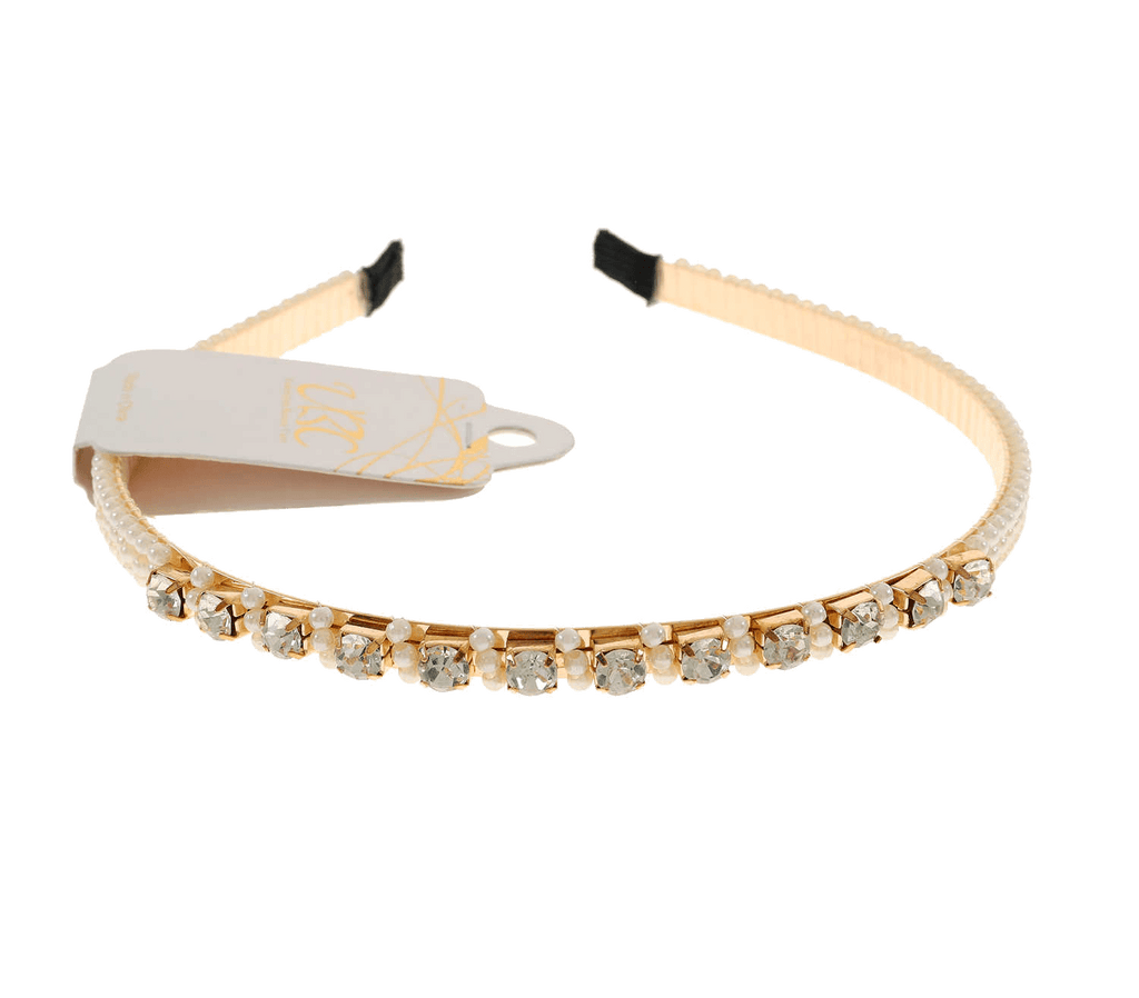 Unlimited Beauty Care Barrettes Gold Pearl + Rhinestone Headband